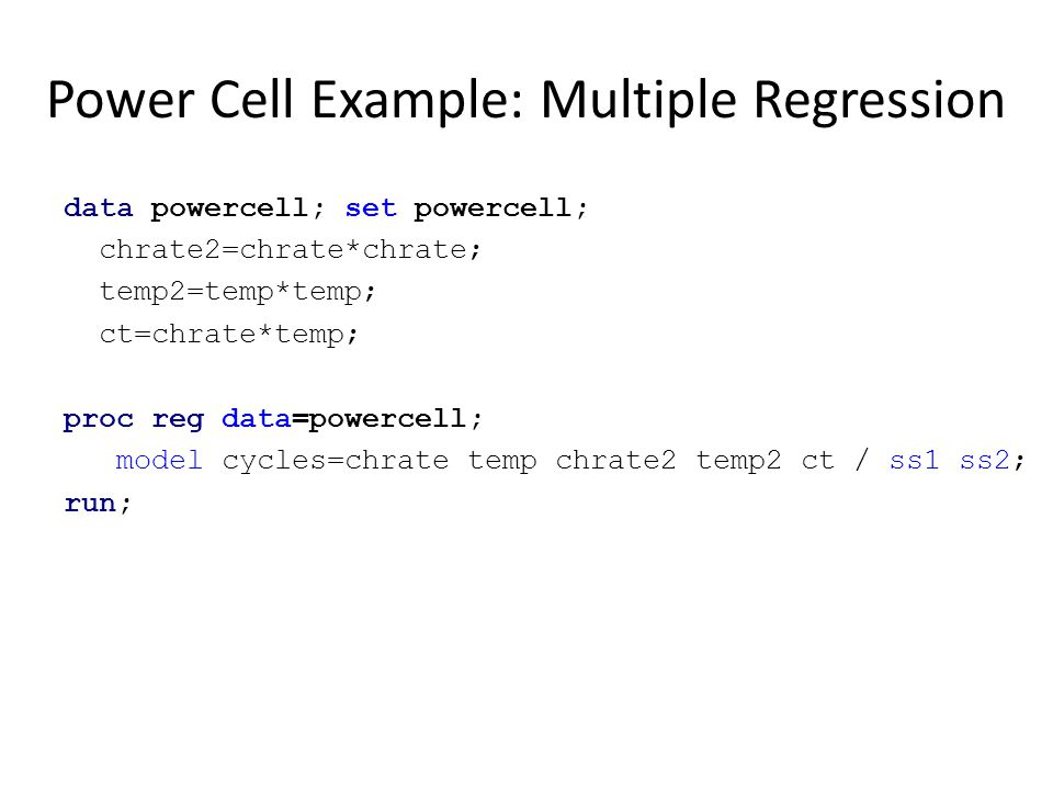 Power Cell Example: Multiple Regression