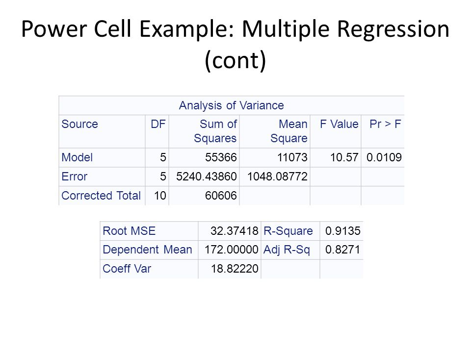 Power Cell Example: Multiple Regression (cont)