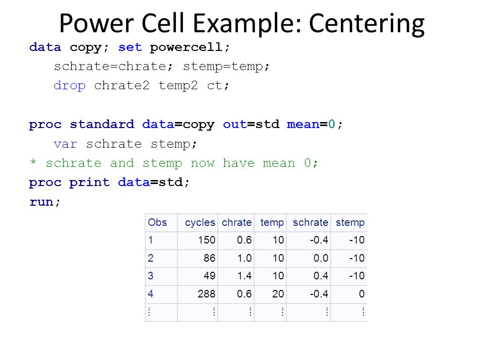 Power Cell Example: Centering