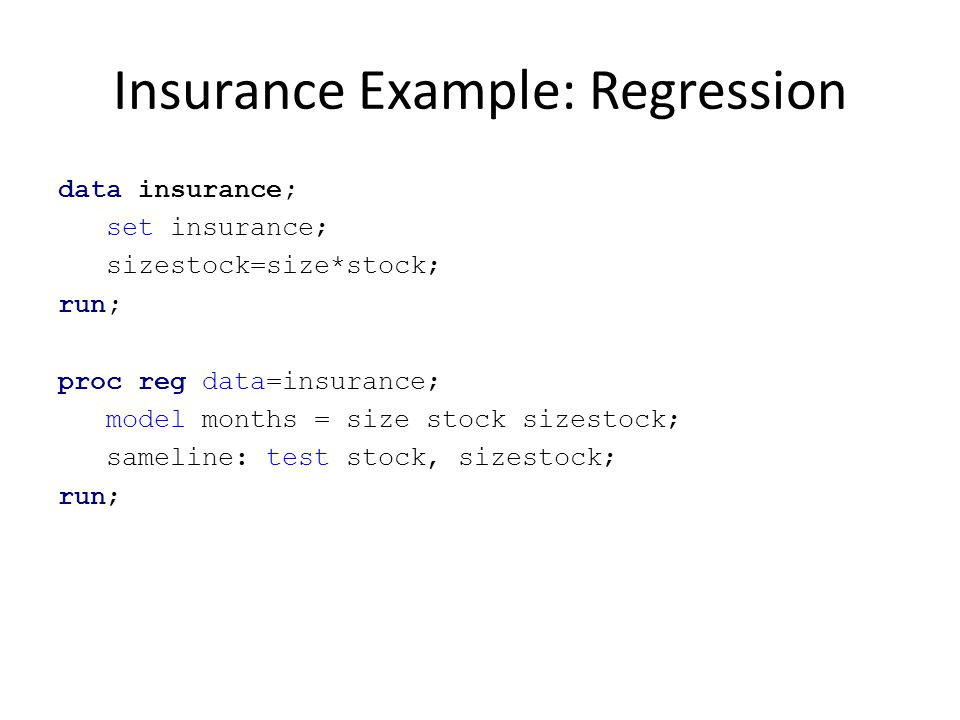 Insurance Example: Regression