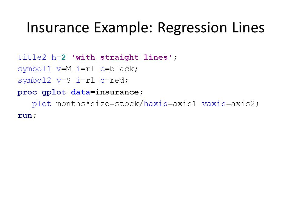Insurance Example: Regression Lines