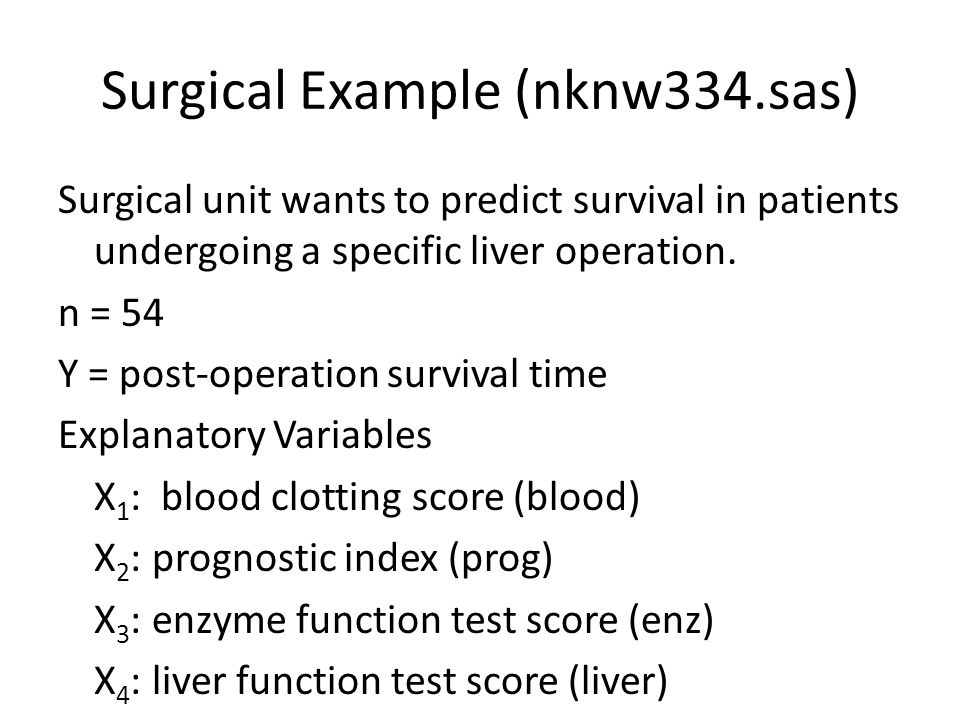 Surgical Example (nknw334.sas)