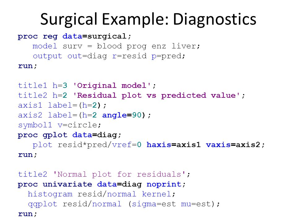 Surgical Example: Diagnostics