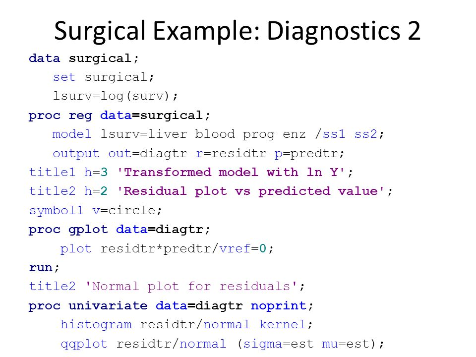 Surgical Example: Diagnostics 2