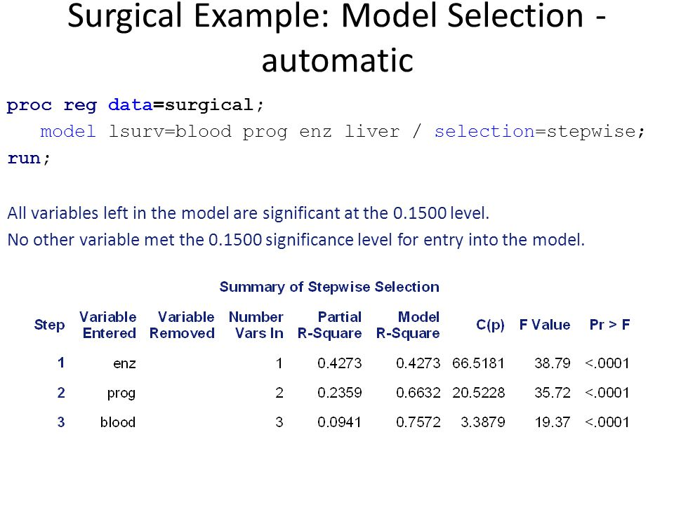 Surgical Example: Model Selection - automatic