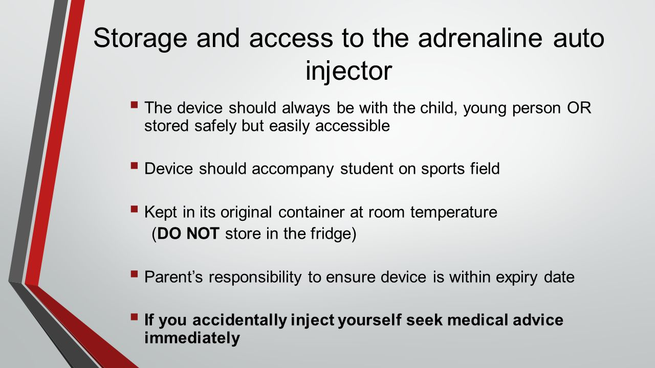 Storage and access to the adrenaline auto injector