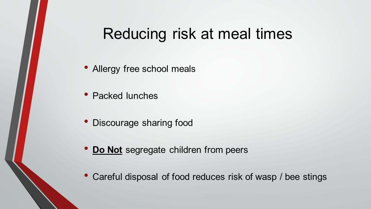 Reducing risk at meal times