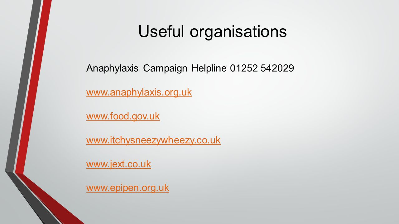 Useful organisations Anaphylaxis Campaign Helpline 01252 542029