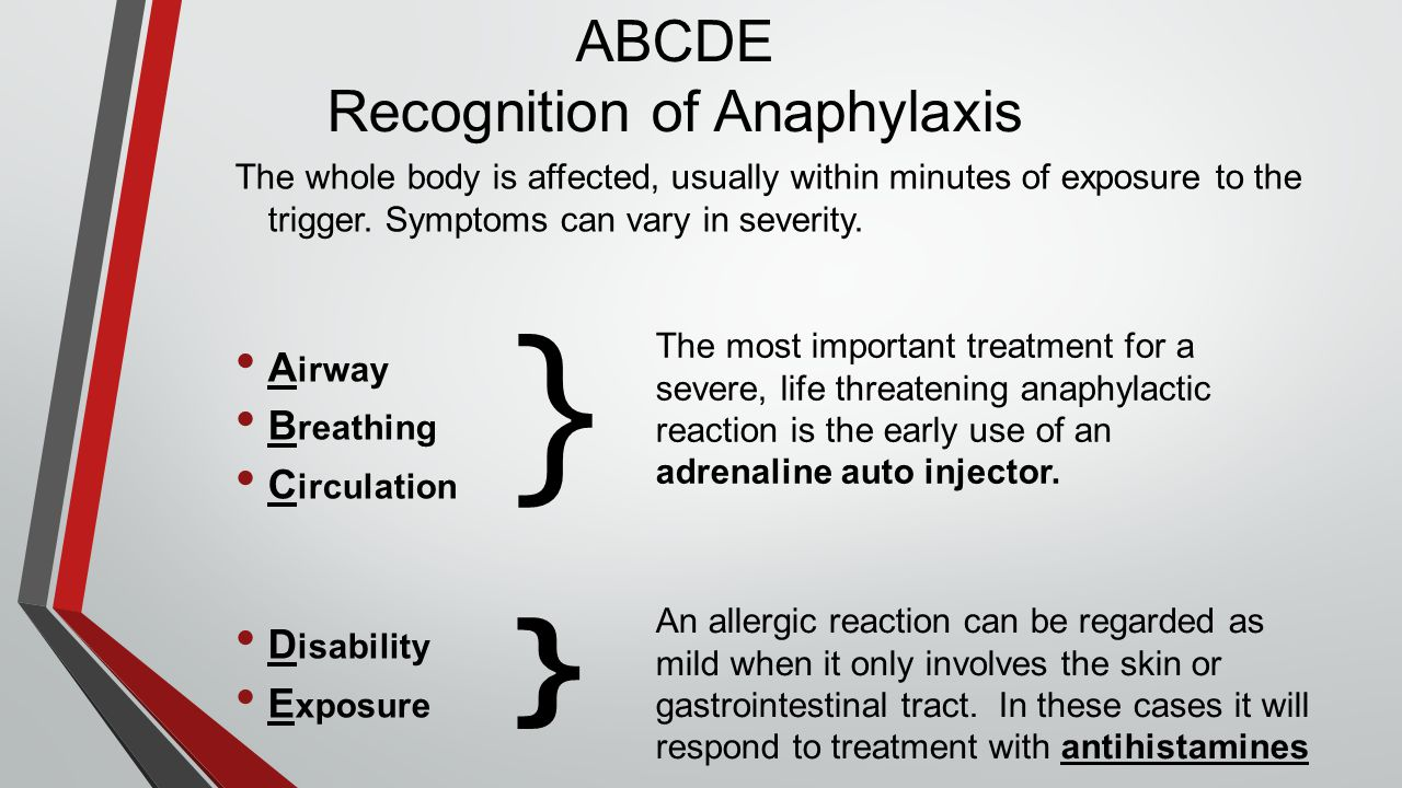 ABCDE Recognition of Anaphylaxis