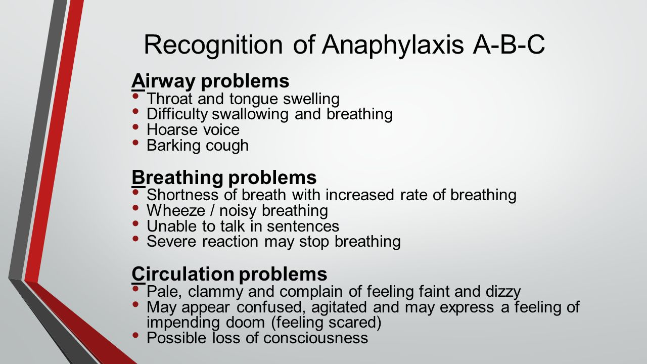 Recognition of Anaphylaxis A-B-C