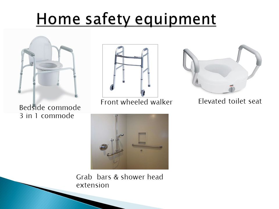 Home safety equipment Front wheeled walker Elevated toilet seat