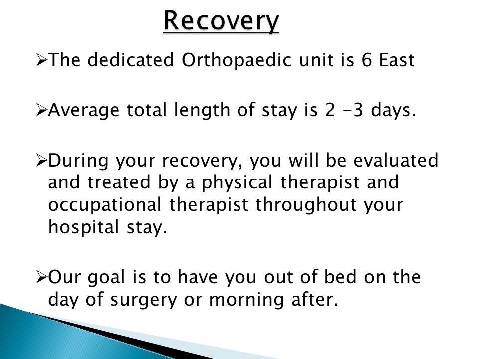 Recovery The dedicated Orthopaedic unit is 6 East