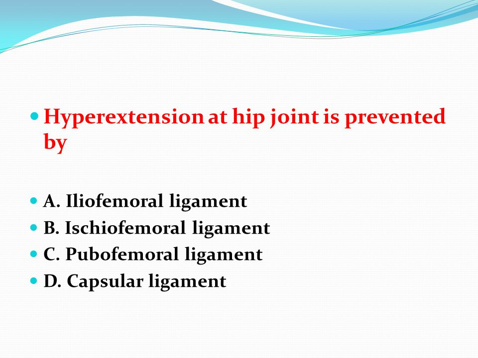 Hyperextension at hip joint is prevented by