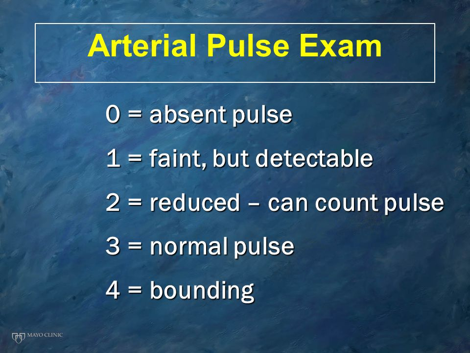 Arterial Pulse Exam 0 = absent pulse 1 = faint, but detectable 2 = reduced – can count pulse 3 = normal pulse 4 = bounding
