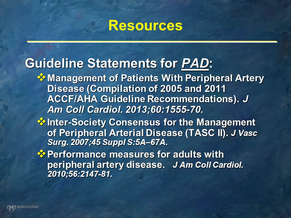 Resources Guideline Statements for PAD: