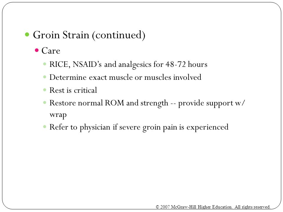 Groin Strain (continued)