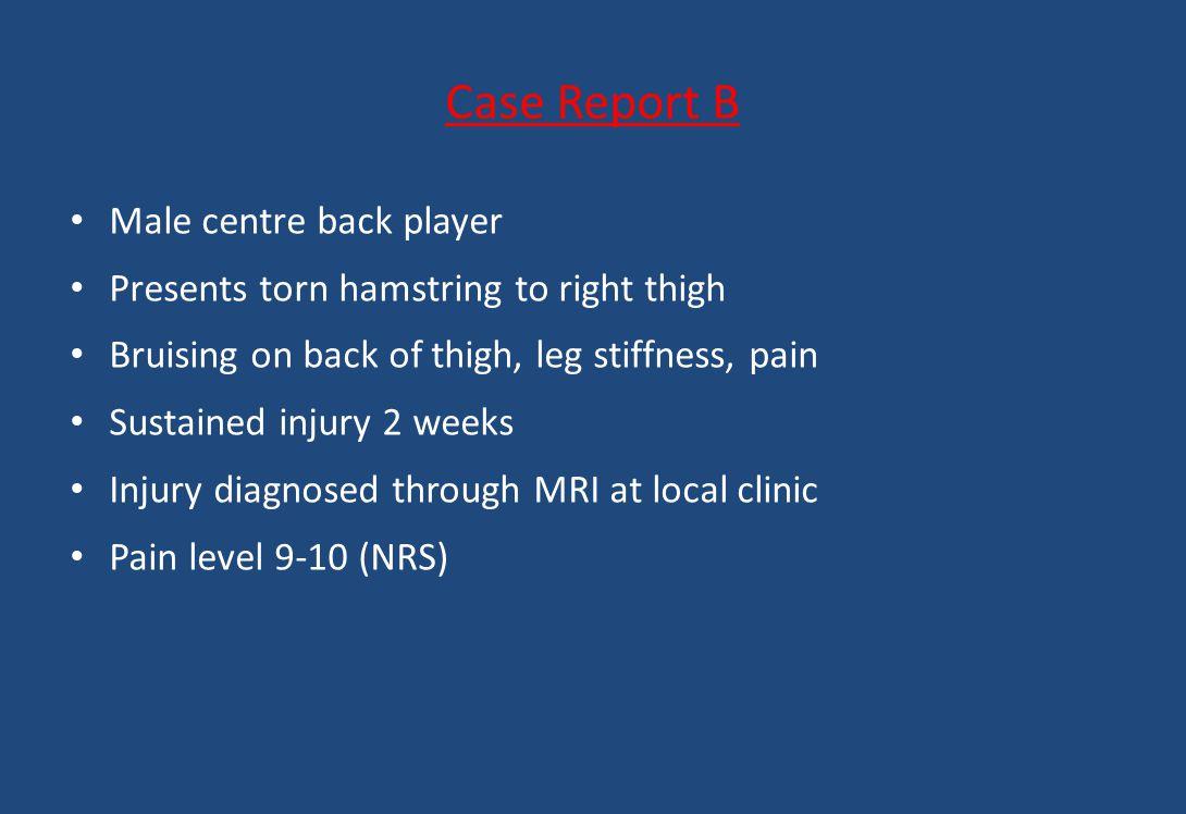 Case Report B Male centre back player