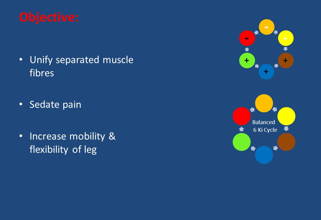 - Objective: Unify separated muscle fibres Sedate pain
