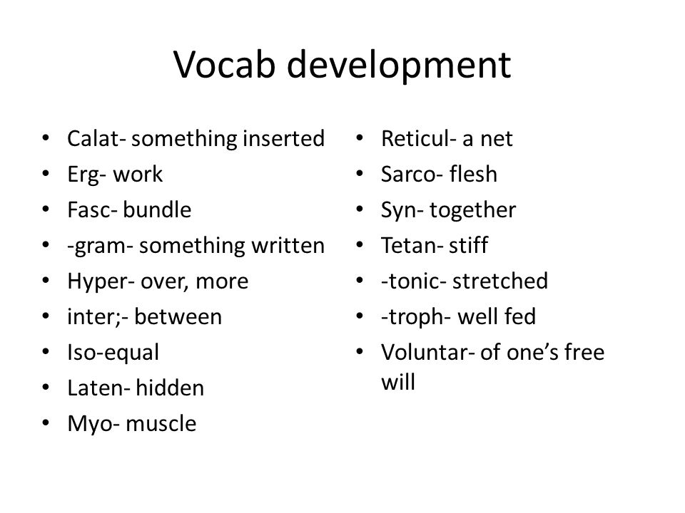 Vocab development Calat- something inserted Erg- work Fasc- bundle