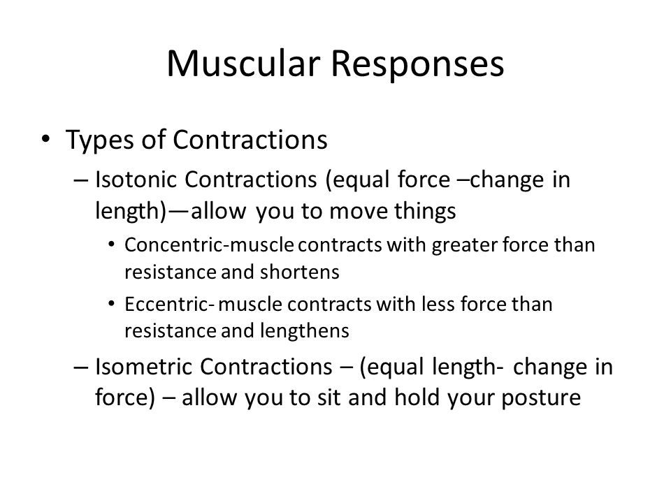Muscular Responses Types of Contractions