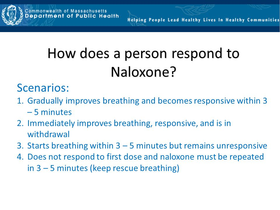 How does a person respond to Naloxone