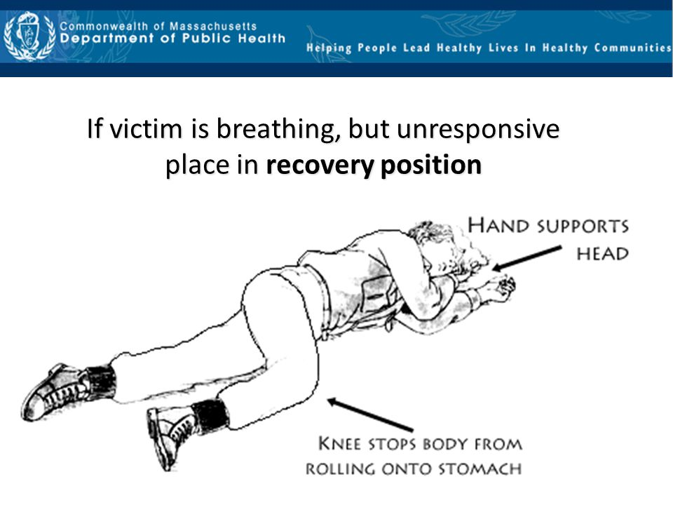 If victim is breathing, but unresponsive place in recovery position