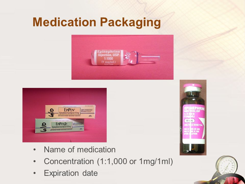 Medication Packaging Name of medication