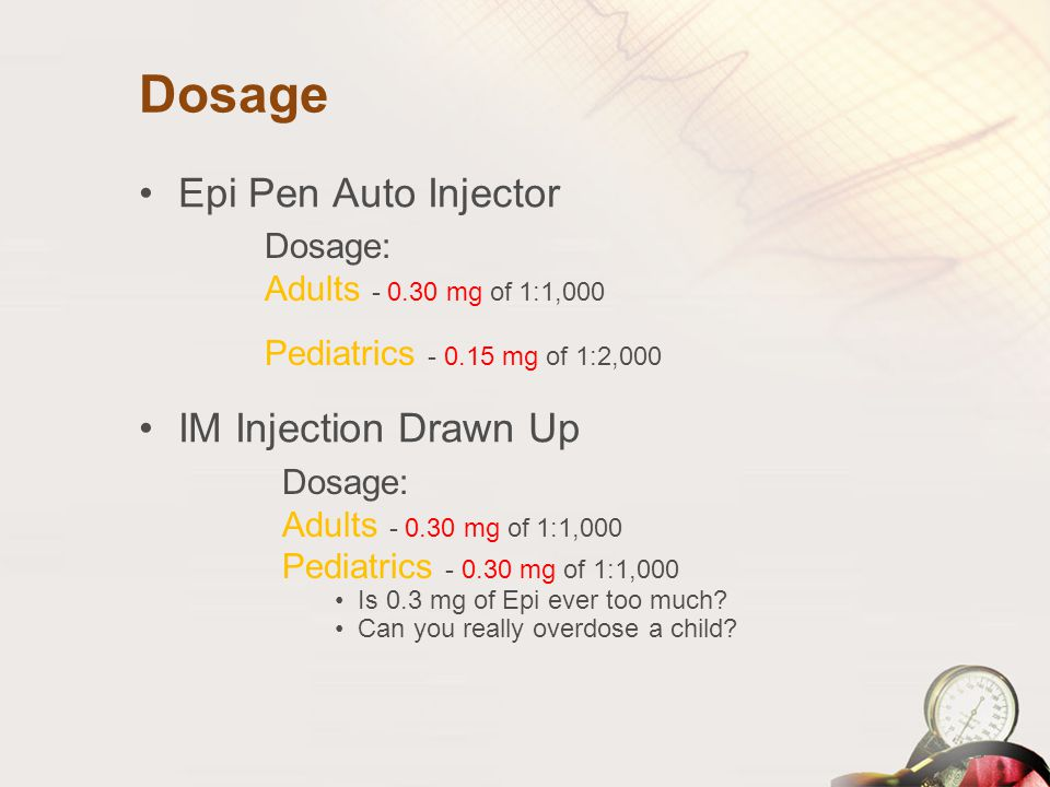 Dosage Epi Pen Auto Injector IM Injection Drawn Up Dosage: