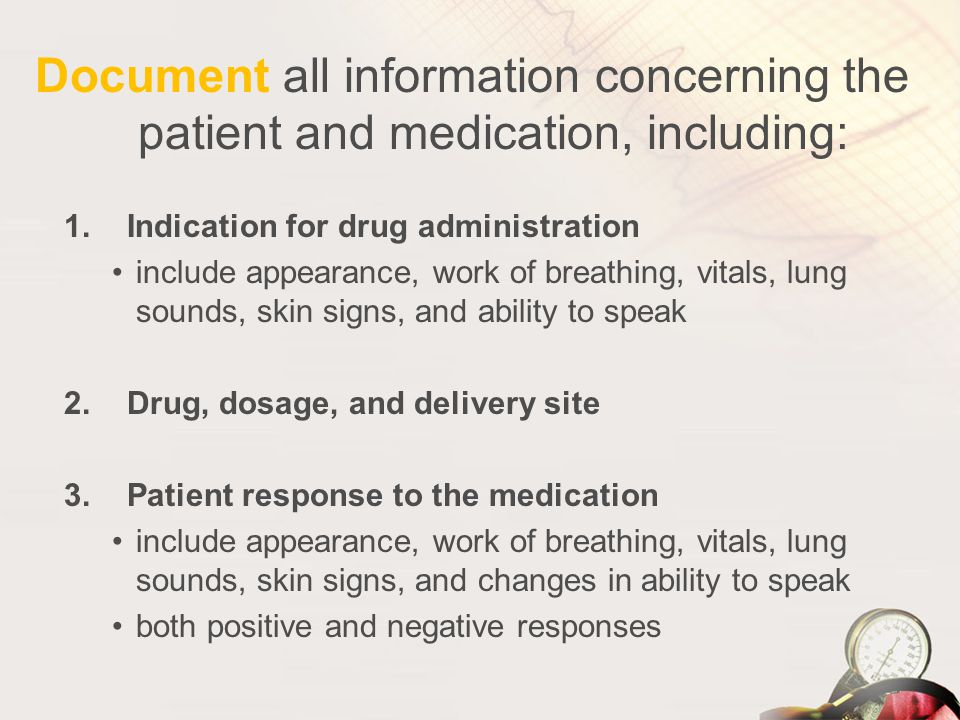 Document all information concerning the patient and medication, including: