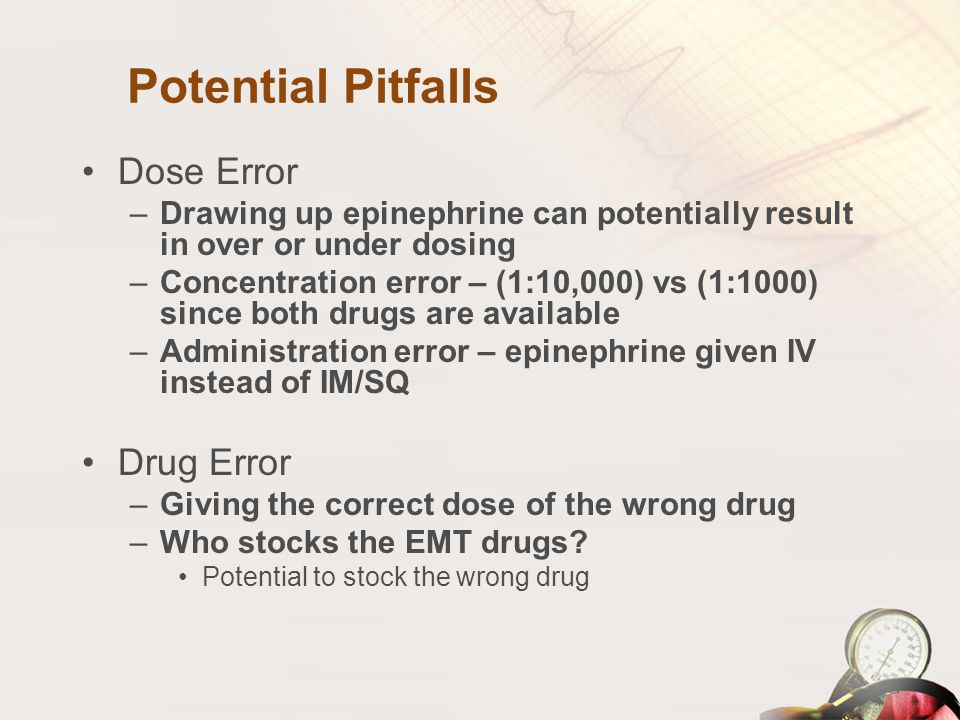 Potential Pitfalls Dose Error Drug Error