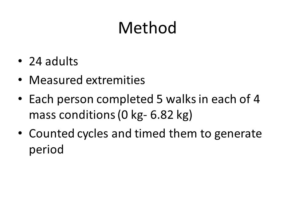 Method 24 adults Measured extremities