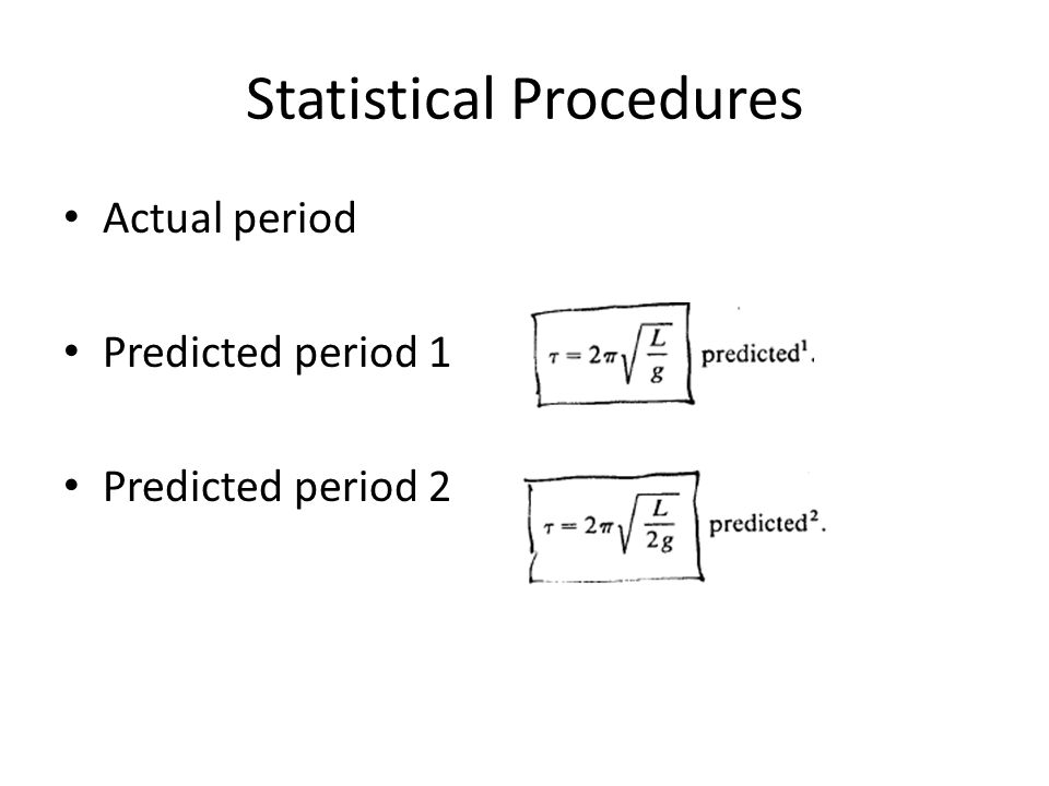 Statistical Procedures