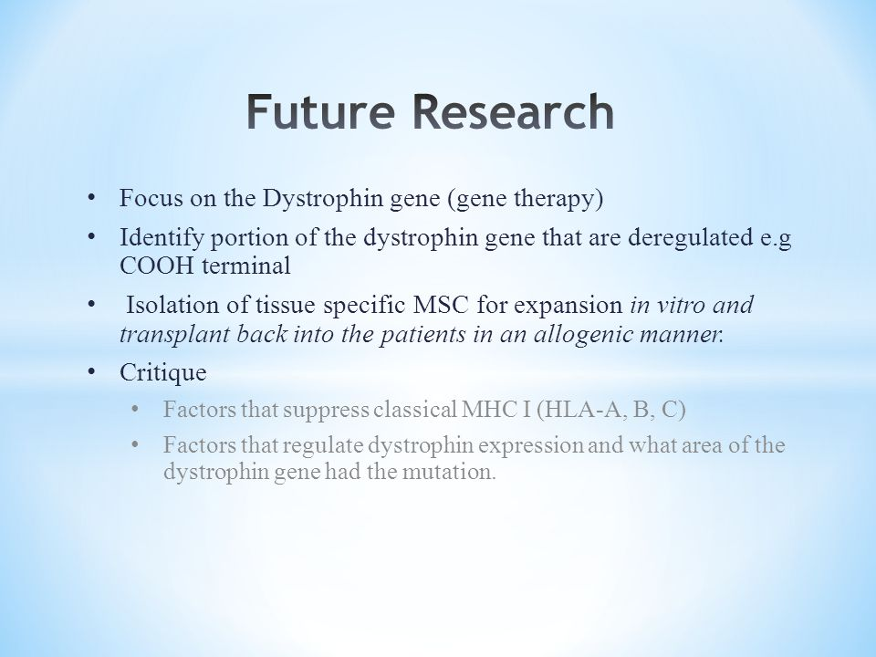 Future Research Focus on the Dystrophin gene (gene therapy)