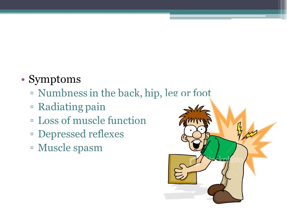 Symptoms Numbness in the back, hip, leg or foot Radiating pain