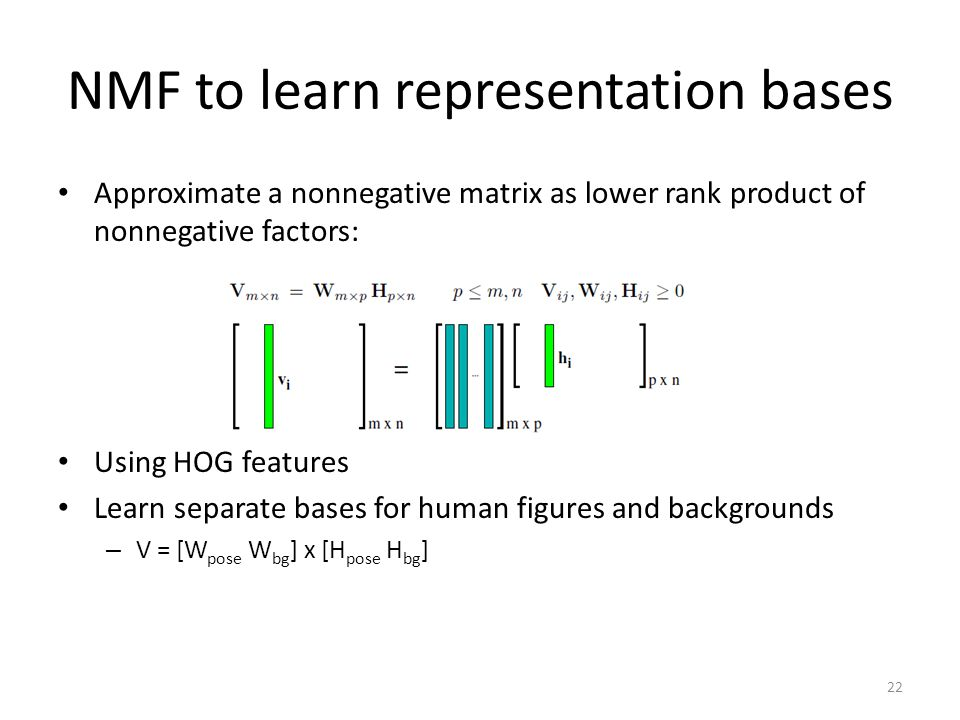NMF to learn representation bases