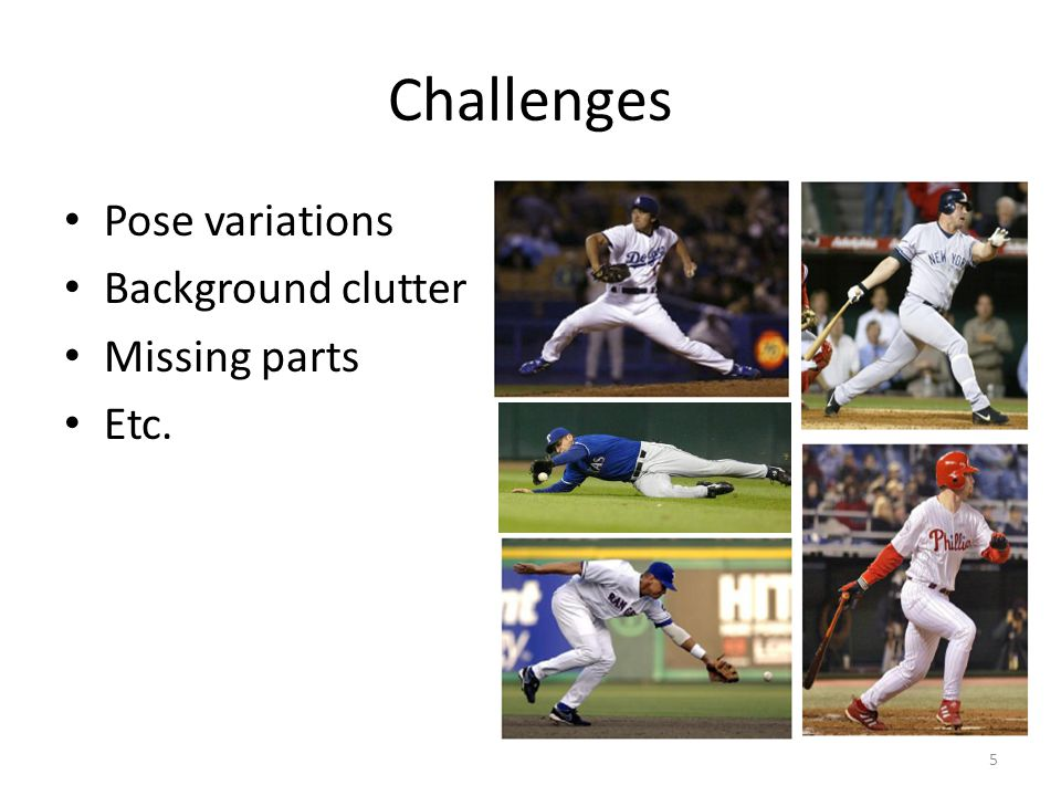 Challenges Pose variations Background clutter Missing parts Etc.
