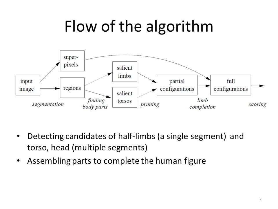 Flow of the algorithm Detecting candidates of half-limbs (a single segment) and torso, head (multiple segments)