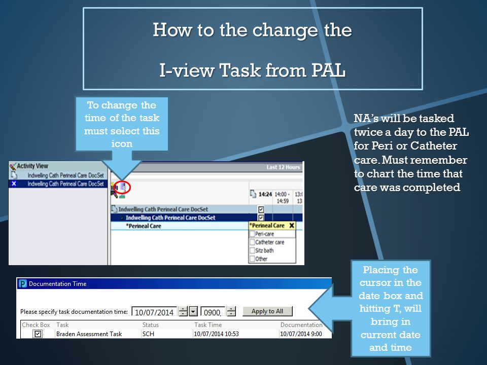 How to the change the I-view Task from PAL