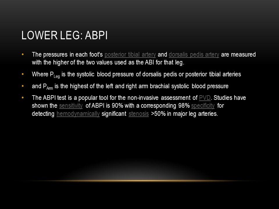 Lower leg: Abpi