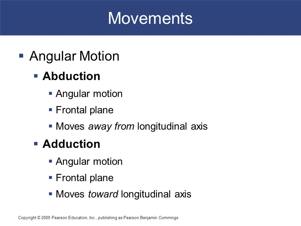 Movements Angular Motion Abduction Adduction Angular motion