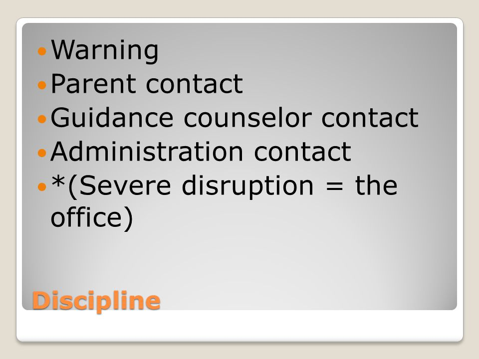 Guidance counselor contact Administration contact