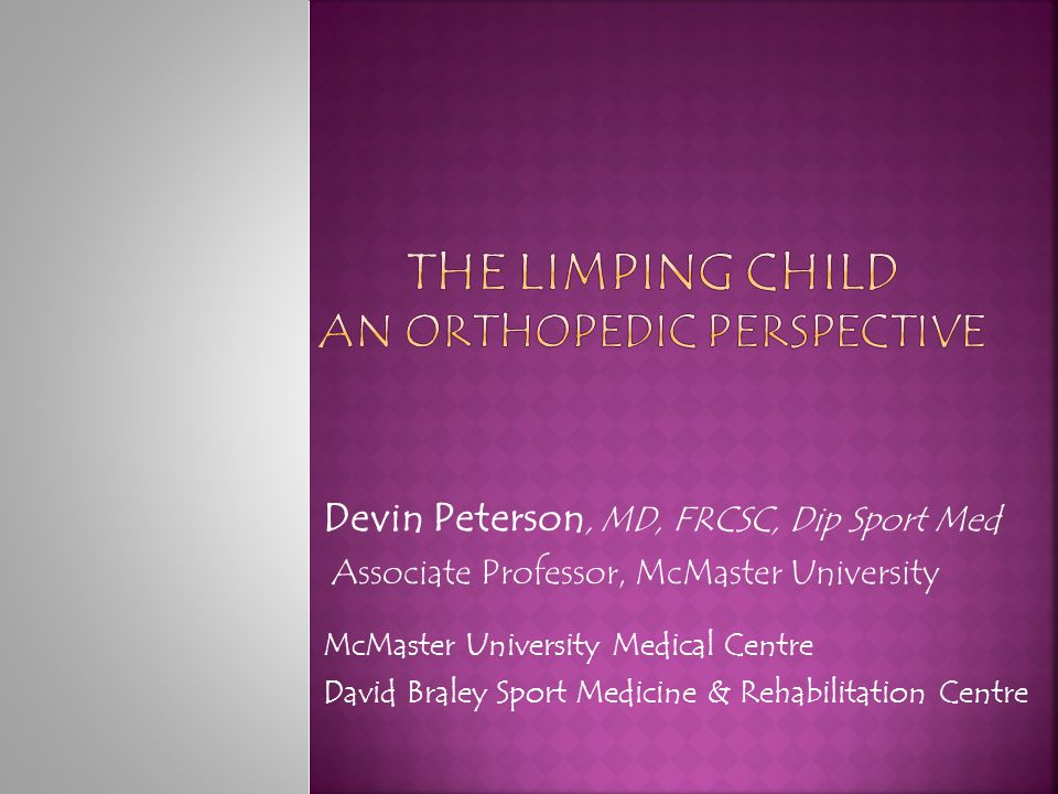 The limping child an orthopedic perspective