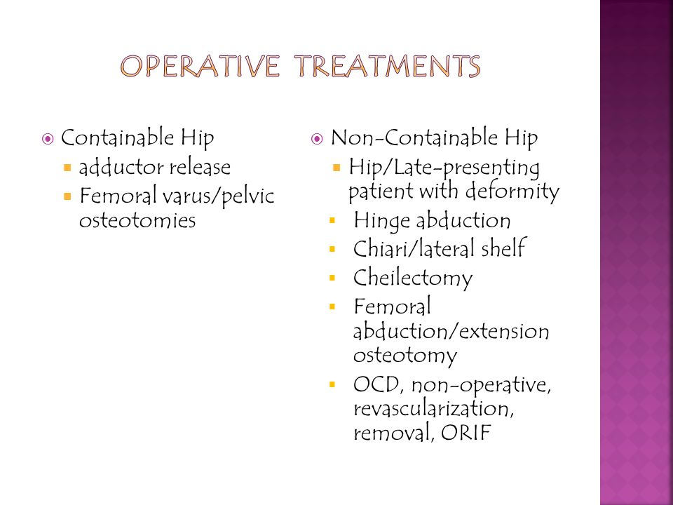 Operative Treatments Containable Hip adductor release