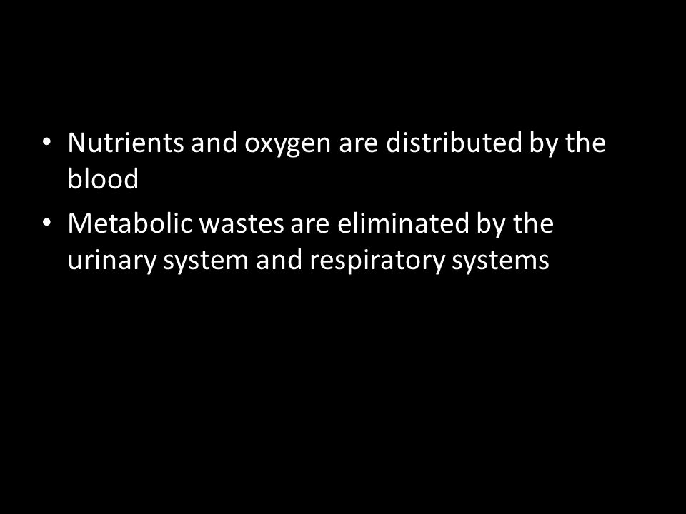 Nutrients and oxygen are distributed by the blood