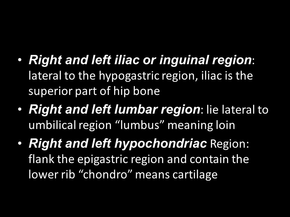 Right and left iliac or inguinal region: lateral to the hypogastric region, iliac is the superior part of hip bone