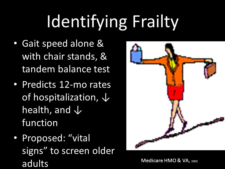 Identifying Frailty Gait speed alone & with chair stands, & tandem balance test. Predicts 12-mo rates of hospitalization, ↓ health, and ↓ function.