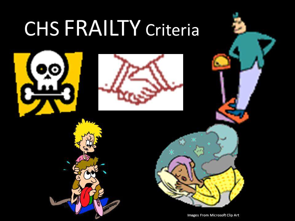 CHS FRAILTY Criteria CHS= cardiovascular health study