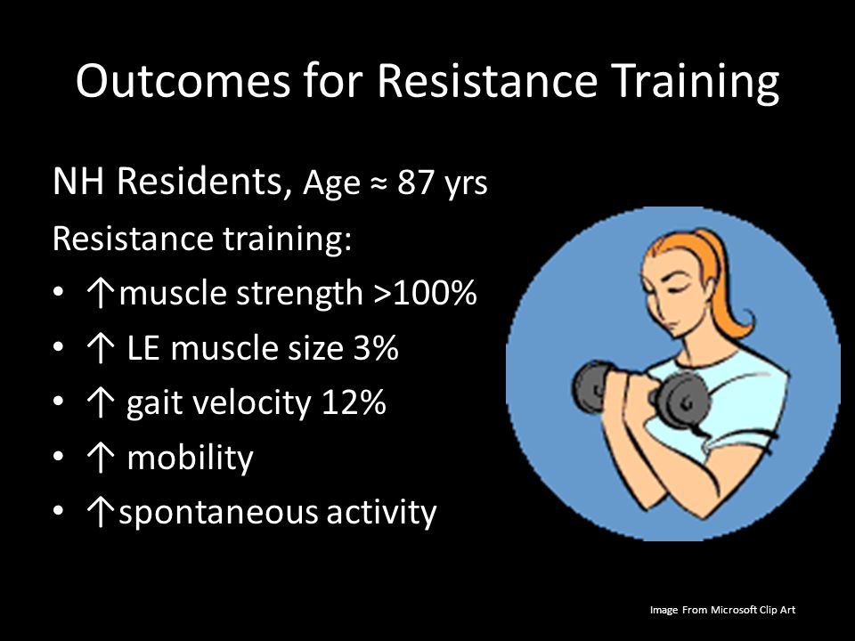 Outcomes for Resistance Training