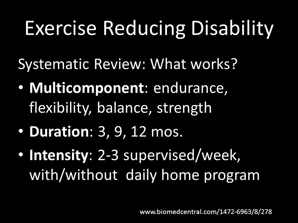 Exercise Reducing Disability