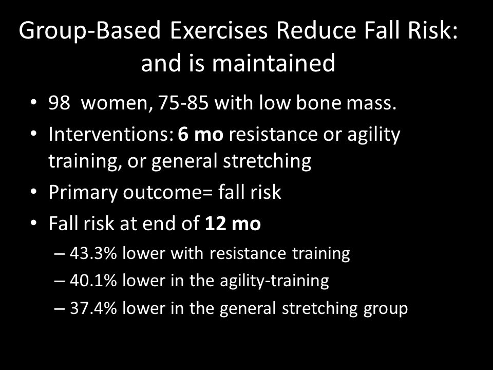 Group-Based Exercises Reduce Fall Risk: and is maintained